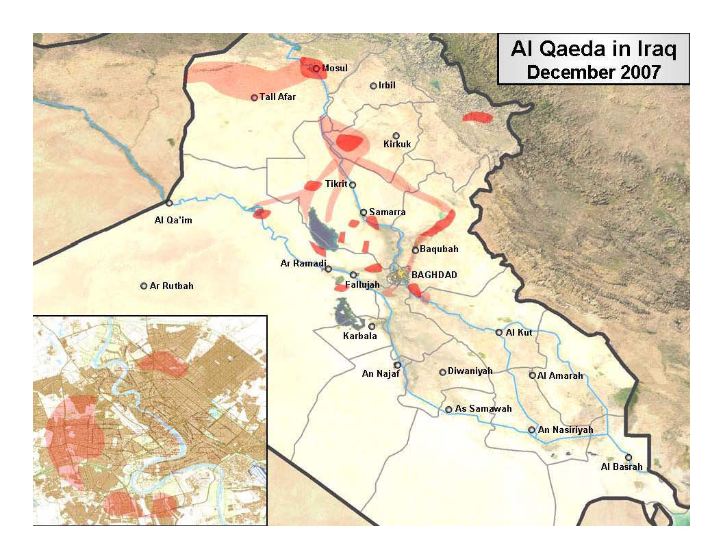 MUSINGS ON IRAQ The Demise But Not Death Of Al Qaeda In Iraq - Map showing us and iraq