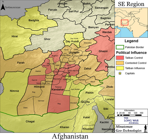 click map for full view taliban presence by district in kandahar uruzgan and helmand provinces information on taliban presence obtained from open