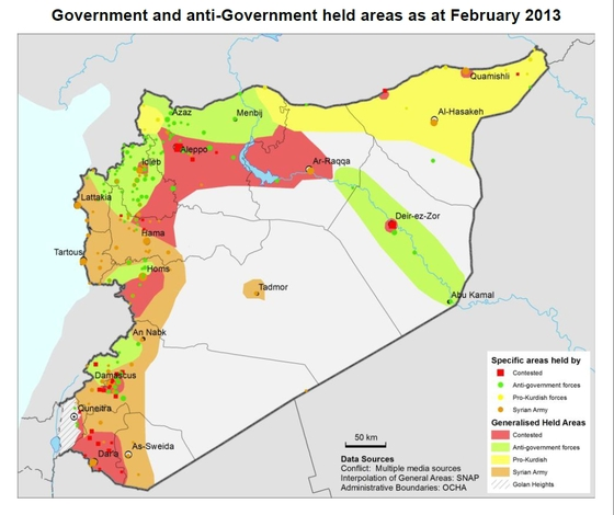 February battle lines in syria photos the long war journal for Syria war template