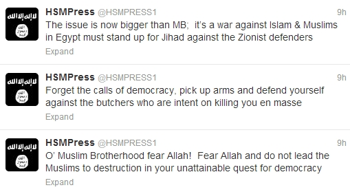 Shabaab Tweets on Muslim Brotherhood Crackdown August 19 1.jpg