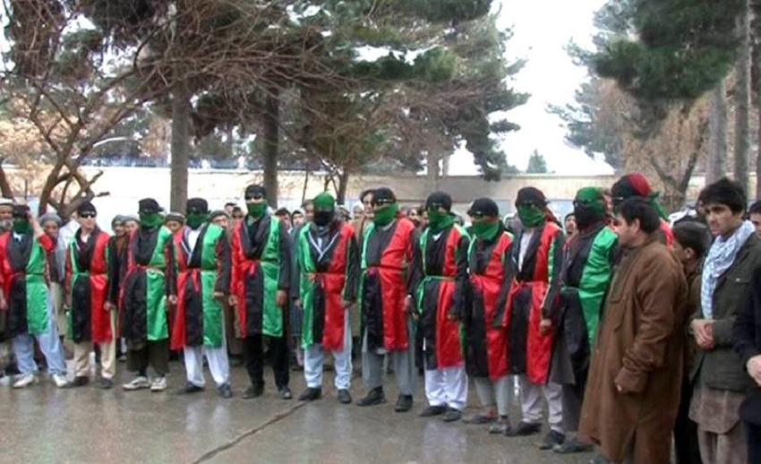 Marg militiamen pose for a group photo in late January 2015. Source: Afghan Zariza