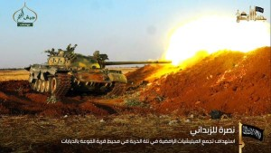 15-09-18 Jund al Aqsa tank being used during the battle