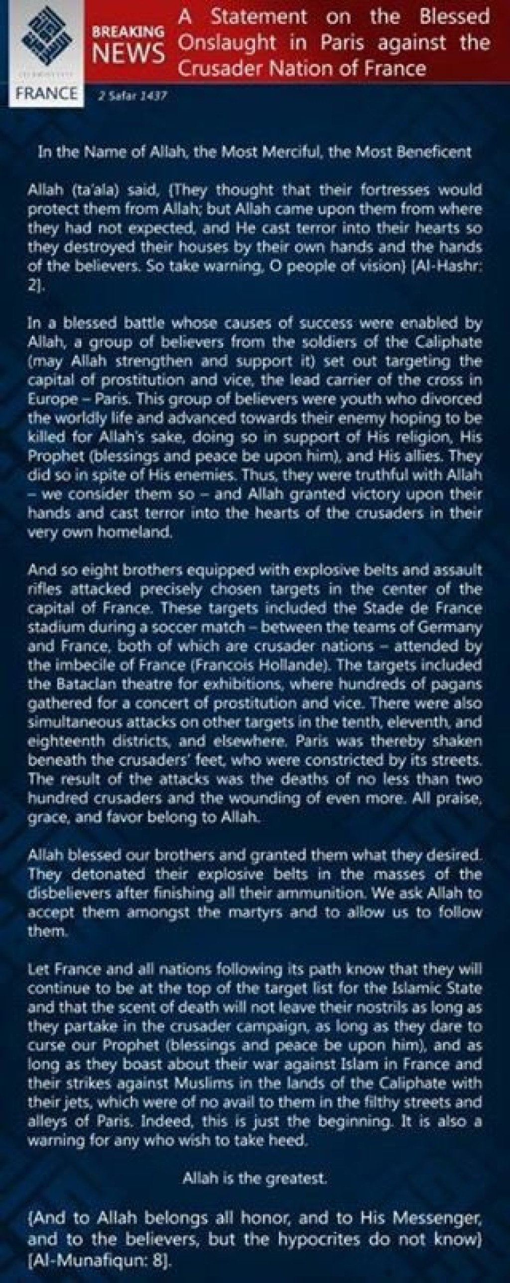 15-11-14 Islamic State claims Paris attacks