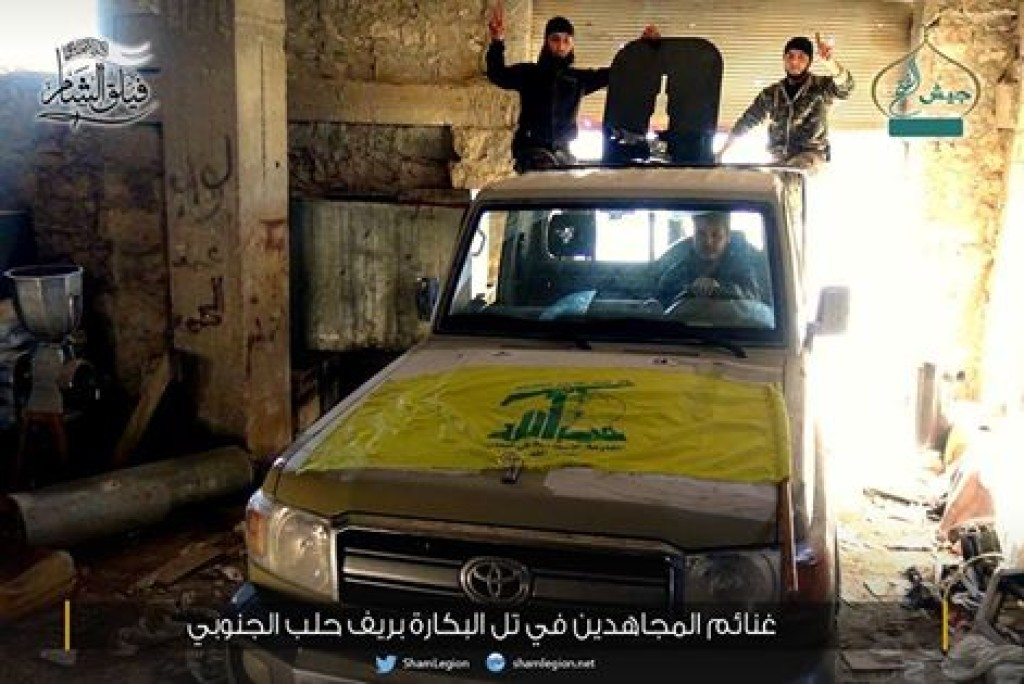 15-11-24 Sham Legion with Shiite vehicle in Aleppo