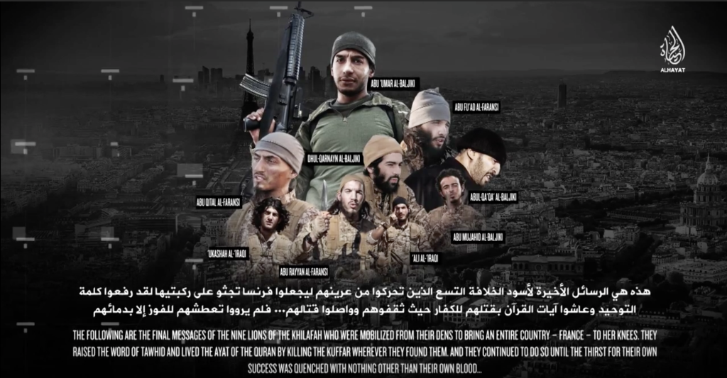 16-01-24 Paris terrorists as shown in new Islamic State video