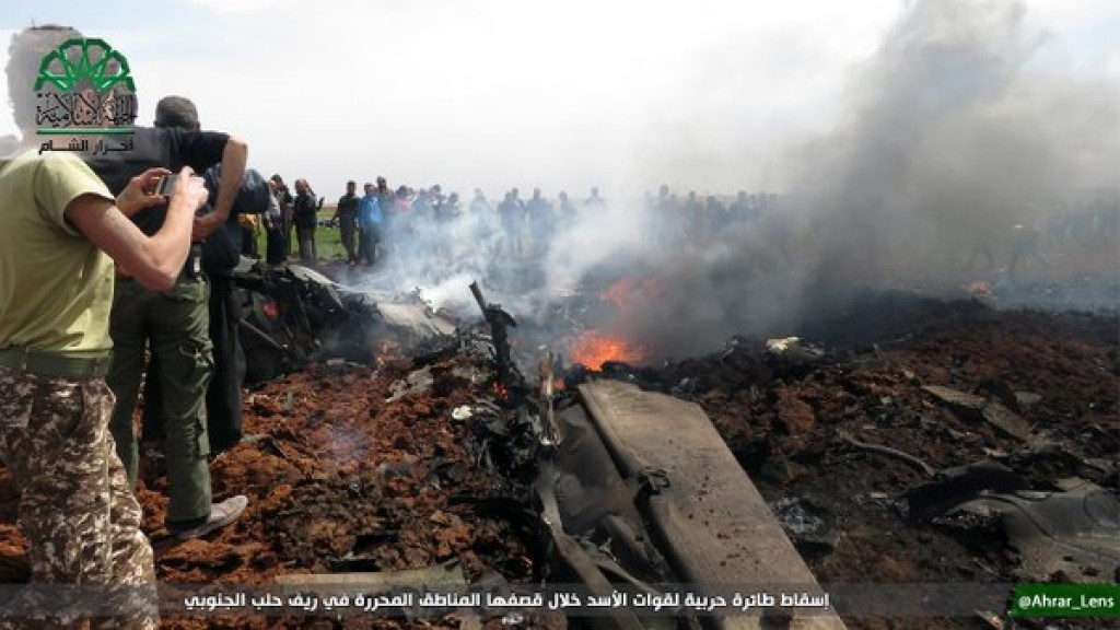 Ahrar al Sham photo of downed Syrian jet