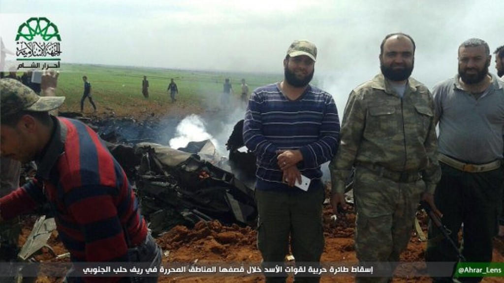 Ahrar al Sham photo of downed Syrian jet 2