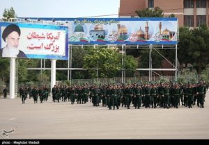 Funeral procession at IRGC office college