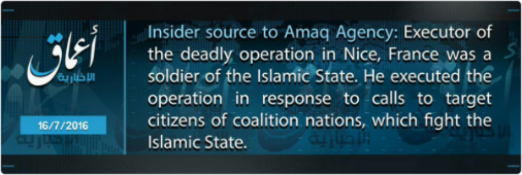 16-07-16 Amaq claim of Nice attack in English