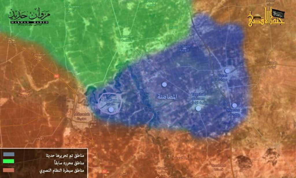 16-09-01 Map of fighting in Hama