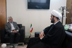 Akram al Kabi greeted by Saeed Jalili, the supreme leader's representative in the Supreme National Security Council, in Tehran, August 27. Credit: Official Website of Dr. Saeed Jalili.
