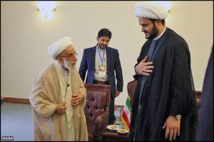 Ayatollah Ahmad Jannati, chairman of the Assembly of Experts, meeting Akram al Kabi on Aug. 28.