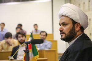 Iraqi militia leader Akram al Kabi at a conference in Imam Sadegh University in Tehran, Aug. 31.