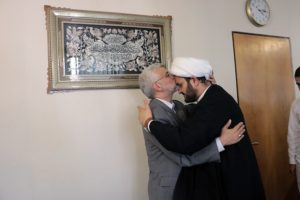 Akram al Kabi greeted by Saeed Jalili, the supreme leader's representative in the Supreme National Security Council, in Tehran, August 27. Credit: Official Website of Dr. Saeed Jalili