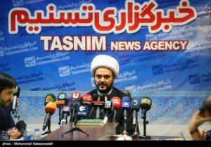 Iraqi militia leader Akram al Kabi at a press conference in Tasnim News Agency.