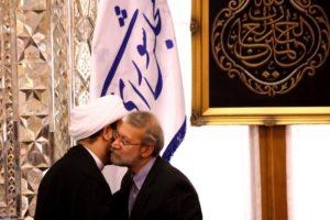 Iran's parliament speaker meeting with Akram al Kabi on Aug. 27 in Tehran.