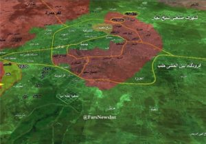 Fars News Agency's map of Aleppo. The circled areas are Handarat Camp, left, and the adjacent Shaqif Industrial City.