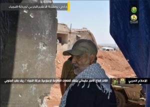 IRGC Qods Force Commander Major General Qassem Soleimani inspecting Iraqi Harakat al Nujaba position in southern Aleppo countryside, September 6.