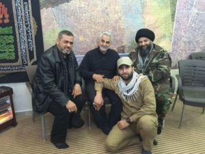 IRGC-QF chief Qassem Soleimani, middle, with Saraya al Khorasani chief Ali al Yasseri, top left, Saraya al Khorasani deputy Seyyed Hamed Jazayeri, top right, and AAH commander Mohammad-Bagheri Soleimani.