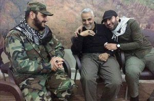 IRGC-QF chief Qassem Soleimani, middle, with Harakat al Nujaba head Akram al Kabi, left, and AAH commander Mohammad-Bagher Soleimani, right, in Aleppo, Syria, November 2015.