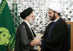 Ebrahim Raisi, influence cleric and the trustee of Iran's wealthiest religious foundation, received Iraqi militia leader Akram al Kabi in Mashhad on Sept. 1.
