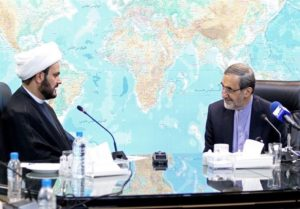 Ali Akbar Velayati, top foreign policy advisor to the supreme leader, meeting with Akram al Kabi in Tehran.