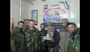 Senior Quds Brigade combatants with an alleged Russian officer, March 2016.