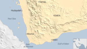 Map of the Mandab Strait and Mocha port. Credit: BBC