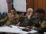 Middle, Abu Mehdi al Muhandis, PMF Commander and deputy to IRGC-QF chief Qassem Soleimani, and, left, Hakim al Zamili, head of the parliament national security committee who ran sectarian deathsquads ten years ago