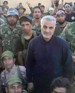 Qassem Soleimani and Iraqi Shiite militiamen in Aleppo province.
