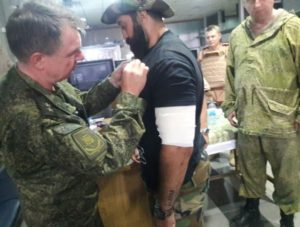 A Russian Lieutenant General bestowing medal on Quds Brigade commander Mohammad Rafi, posted in August 2016.