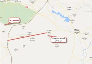 "IRGC-affiliated Fars News Agency's map on the PMF's zone of operation from the renamed ""Martyr Jassim Shebir"" airport to the Syrian border."