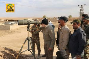 Abu Mahdi al Muhandis, PMF operations commander and deputy to Qassem Soleimani, inspecting positions. Credit: Official PMF social media account.