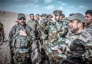 Harakat al Nujaba head Akram Kabi inspecting positions in western Mosul axis, Nov. 5.