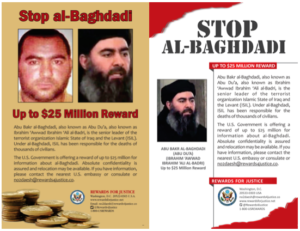 Wanted posters for Abu Bakr al Baghdadi, the emir of the Islamic State. Source: Rewards for Justice.