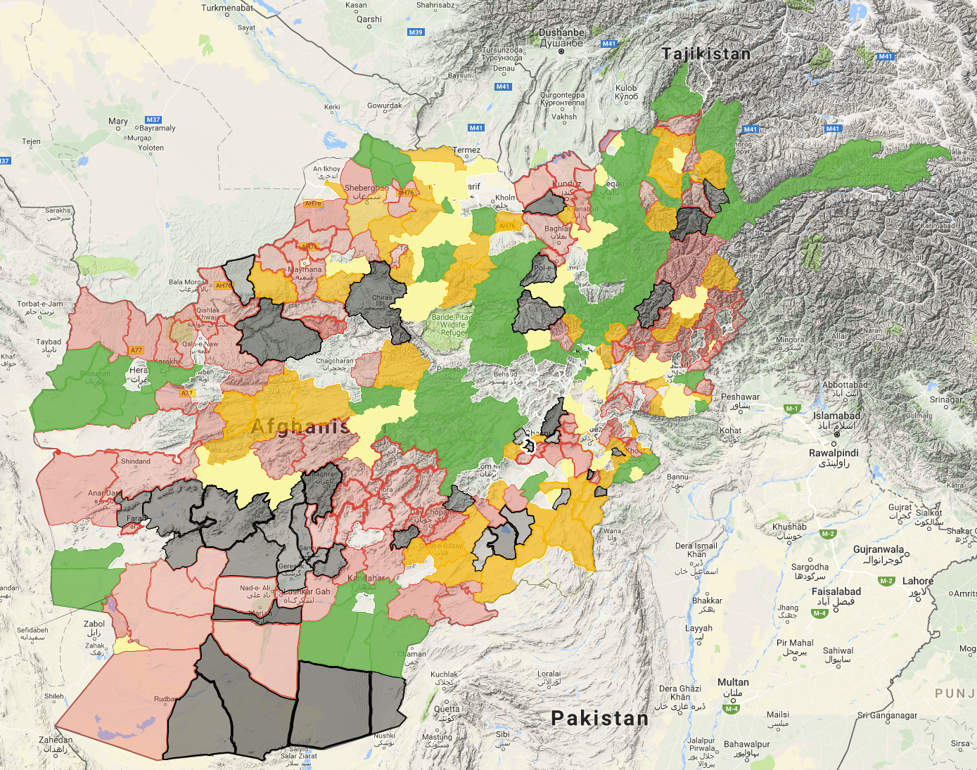 Afghan Taliban Lists Percent Of Country Under The Control Of - Us military bases in afghanistan 2017 map