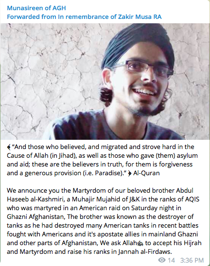 aqis member from kashmir reportedly killed in ghazni  afghanistan